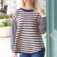 Old School Stripe + Suede Elbow Patch Sweater {Navy}