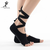 Women Tied Pilates Yoga Toe Socks  Professonal Sports And Dance Socks Slippers Hot Cotton Socks New Ribbons Non-Slip Gym Socks