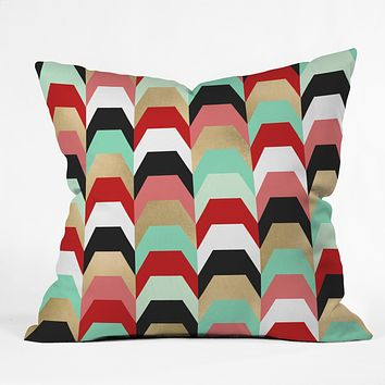 Elisabeth Fredriksson Stacks of Red and Turquoise Outdoor Throw Pillow