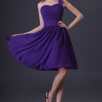 Purple One Shoulder Flower Ruched Flounced Chiffon Homecoming Dress
