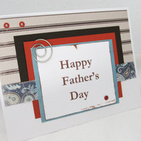 Father's Day Card - Brown and White Card - Blank Card - Masculine - Happy Father's Day - Rustic Orange Accents - Brown Stripes - Turquoise