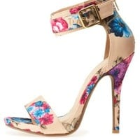 Floral Satin Single Strap Heels by Charlotte Russe - Beige Combo