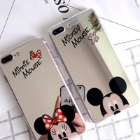 Mirror Mickey&Minnie couple mobile phone case for iPhone X 7 7plus 8 8plus iPhone6 6s plus -171113