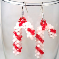 Candy Cane Earrings Swarovski Crystals