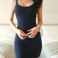 Deep Blue Spaghetti Strap Sleeveless Mini Dress
