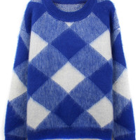 Blue Argyle Fluffy Long Sleeve Sweater
