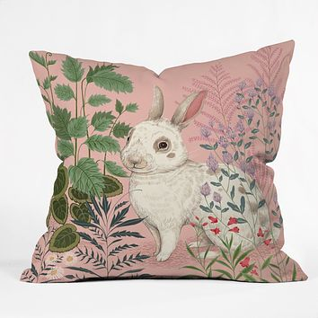 Pimlada Phuapradit Backyard Bunny Outdoor Throw Pillow