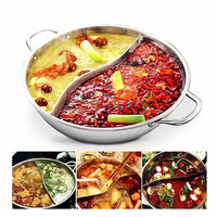 HOT 2017  Casserole Cooking Tool 2 Grid 2 Taste Stainless Steel Hot Pot Mandarin Duck PotSoup Pot