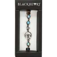 Blackheart Hematite Opal Moon And Star Chain Bracelet