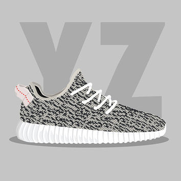 Yeezy Boost 350 Turtle Dove SneakPrints Poster (Framed)