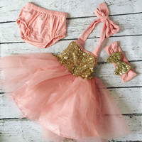 "The ""Gia"" Peach Pink Gold Birthday Infant Dress + Headband Set"