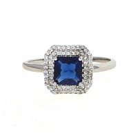 Dear Deer White Gold Plated Classic Sapphire Blue Square Cubic Zirconia Cocktail Ring