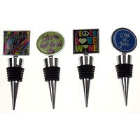 Wine Stopper Set of 4 Will Work For Shoes Peace Love Good Lifes Too Short Saying