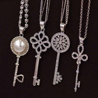 Brand Imitation Gold Silver Plated Luxury Crystal Full Rhinestone Fake Pearl Key Pendant Long Chain Necklace Women Jewelry