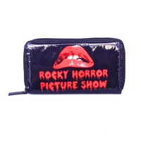 Rock Rebel's officially licensed wallet of the cult classic Rocky Horror Picture Show features a black exterior with the red lips logo, clear ID slot, multiple card slots, change pocket, a full zip closure, and finish with black & white lining.