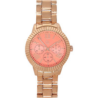 River Island Womens Rose gold tone pink face watch