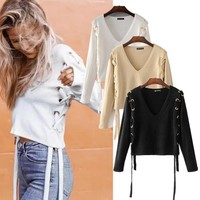 Knit Tops Winter Crop Top Sexy Sweater [31068979226]