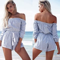 Hot Popular 2016 Trending Fashion Stripes Printed Women Long Sleeve Off Shoulder Boat Neckline Sexy Erotic  Romper Shorts Trousers Pants