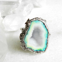 geode ring, ooak, druzy ring, mint green ring, silver ring, statement ring, cocktail ring, raw gemstone jewelry, crystal ring, crystal