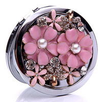 Luxury Diamond Flower mini pocket double side cosmet compact makeup mirror