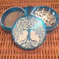 4pc Tree of Life Herb Grinder; Medical Weed Grinder: Tobacco Grinder; Medical Marijuana Grinder; 420 Grinder