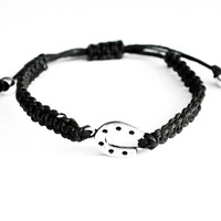 Horseshoe Bracelet Hemp Friendship Black Adjustable