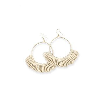 Fringe Hoop Seed Bead Earrings in Ivory