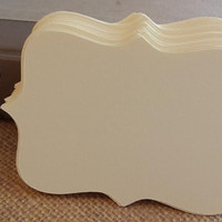 50 Small Ivory Top Notes, DIY Wedding Placecards, Escort Cards, Ivory Bracket Cards, Wish Tags