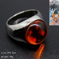 1Pcs Dragon Ball Ring Crystal Balls With Four Star DragonBall Cosplay Accessories New With Package Retail 175