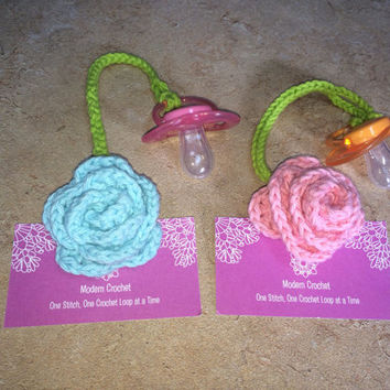 Orthodontic Rose Pacifier Dummy Clip Choose 1, Rose Binky Clip, Rose Binkie Clip, Rose Pacifier Clip, Flower Pacifier Clip, Baby Shower Gift