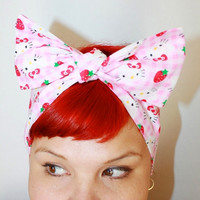 Bow hair tie Hello Kitty Pink Gingham Strawberries by OhHoneyHush