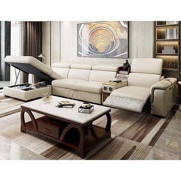 Electric Recliner Leather Couch