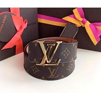 Louis Vuitton LV tide brand men and women classic old flower casual belt smooth buckle belt