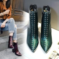 Hot Deal On Sale Dr. Martens England Style Pointed Toe Plus Size Ankle Green Red Black Boots [11557114055]