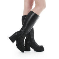 Platform Boots 9.5 Vegan Leather Boots Chunky Black Boots Knee High Boots 90s Goth Grunge Vintage Boots Women's Size US 9.5 / UK 7.5 / EUR40