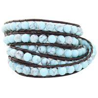 Jewelry Light Turquoise Natural Stone Beads Leather 5 Wraps Bracelet