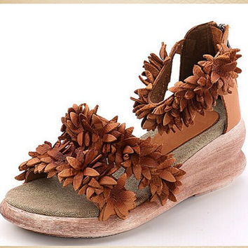 Handmade Summer Shoes for Women with Flower,Platform Shoes,Casual Shoes,Open Toe Leather Sandals ,Women Handmade Zipper Sandals
