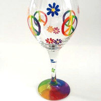 Handpainted Peace Sign Flowers Colorful wine glass