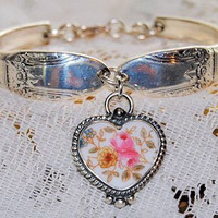 """""""Hand Painted Roses"""" Silver Spoon Bracelet with  Broken China Jewelry Heart Charm in Braided Setting in Gift Box"""