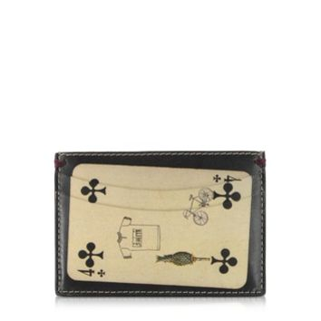 Paul Smith Designer Wallets Men's Black Leather Playing Cards Print Credit Card Holder