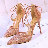Sexy high heel stiletto high heel shallow mouth pointed lace cross strap hollow sandals women's shoes pink