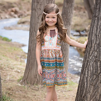 Girls Embroidered Paisley Print Dress