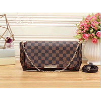 Louis Vuitton Women Shopping Leather Satchel Shoulder Bag Handbag Crossbody F Brown Tartan