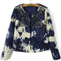 Blue White Sequined Embroidered Long Sleeve Cropped Coat