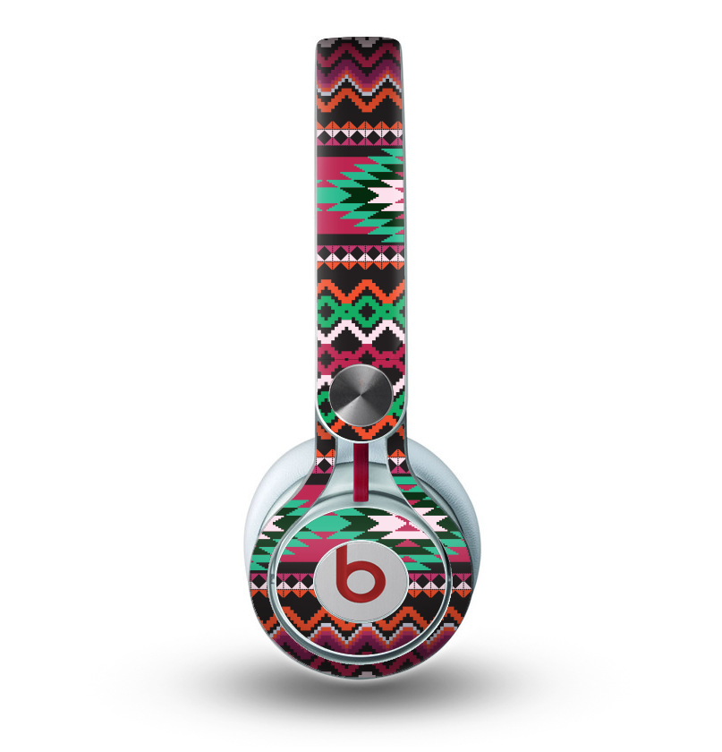 Image of The Vector Green & Pink Aztec Pattern Skin for the Beats by Dre Mixr Headphones