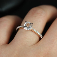 Petite Taylor  14kt Rose Gold Cushion Morganite and Diamond Cathedral Engagement Ring (Other metals and stone options available)