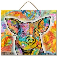 Piglet | Pig | Sign | Wood | Rope Hanger | Art By Russo