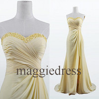 Custom Yellow Beaded Long Prom Dresses Evening Gowns Formal Party Dress Bridesmaid Dresses 2014 Formal Wear Cocktail Dresess Formal Wear