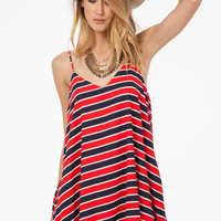 Red, Blue and White Striped Dress with Pockets