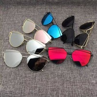 Cat Eye Aviator Sunglasses for Women, Metal Frame, Mirror Sunglasses [10931720275]